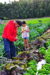 知り合いの農家さんに、野菜のことをいろいろ教わる三女Cちゃん。