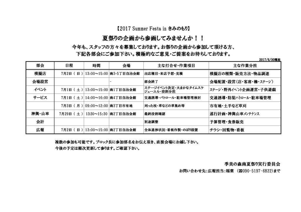 ホームページ用部会日程0630