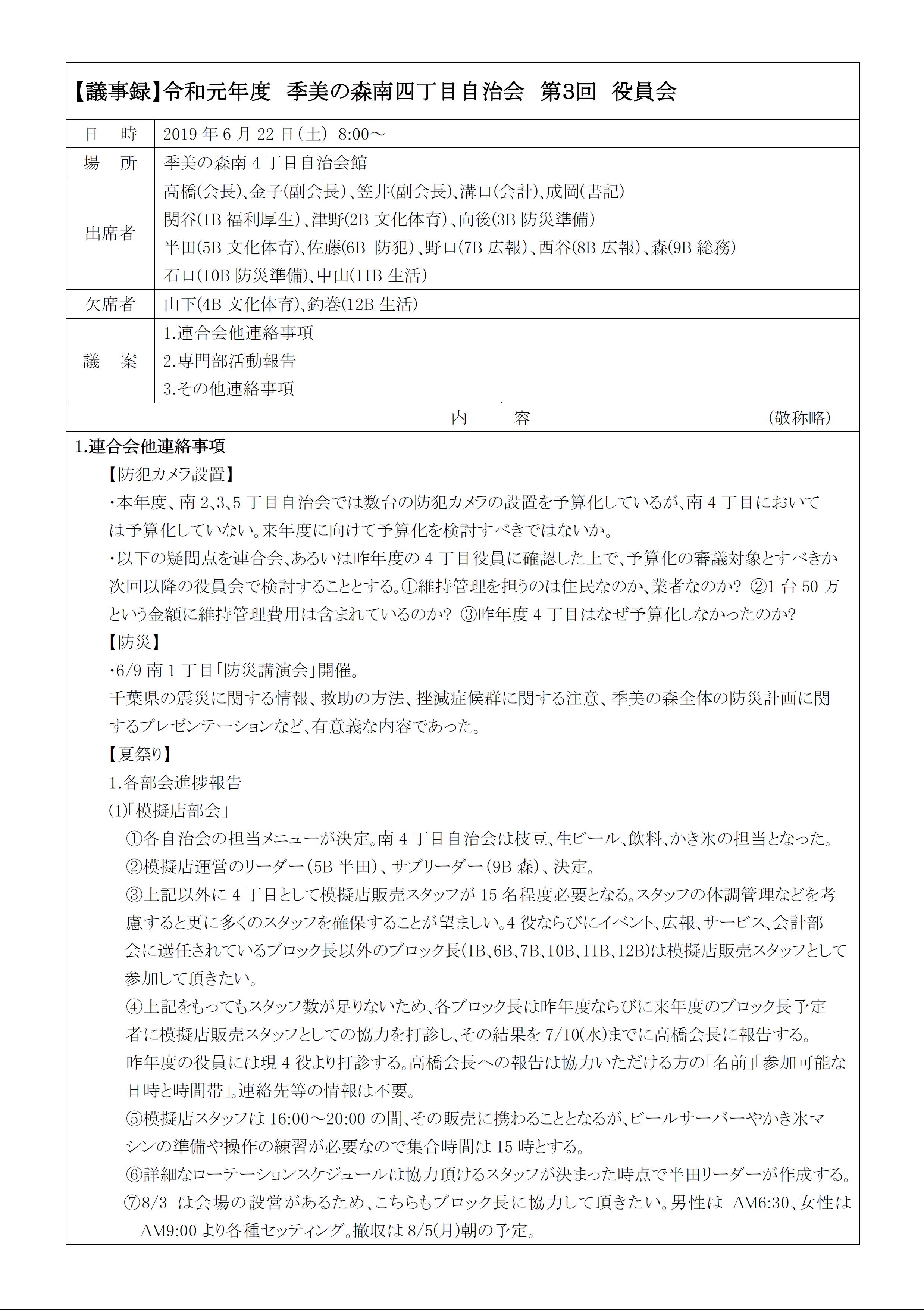 2019第3回役員会議事録P1