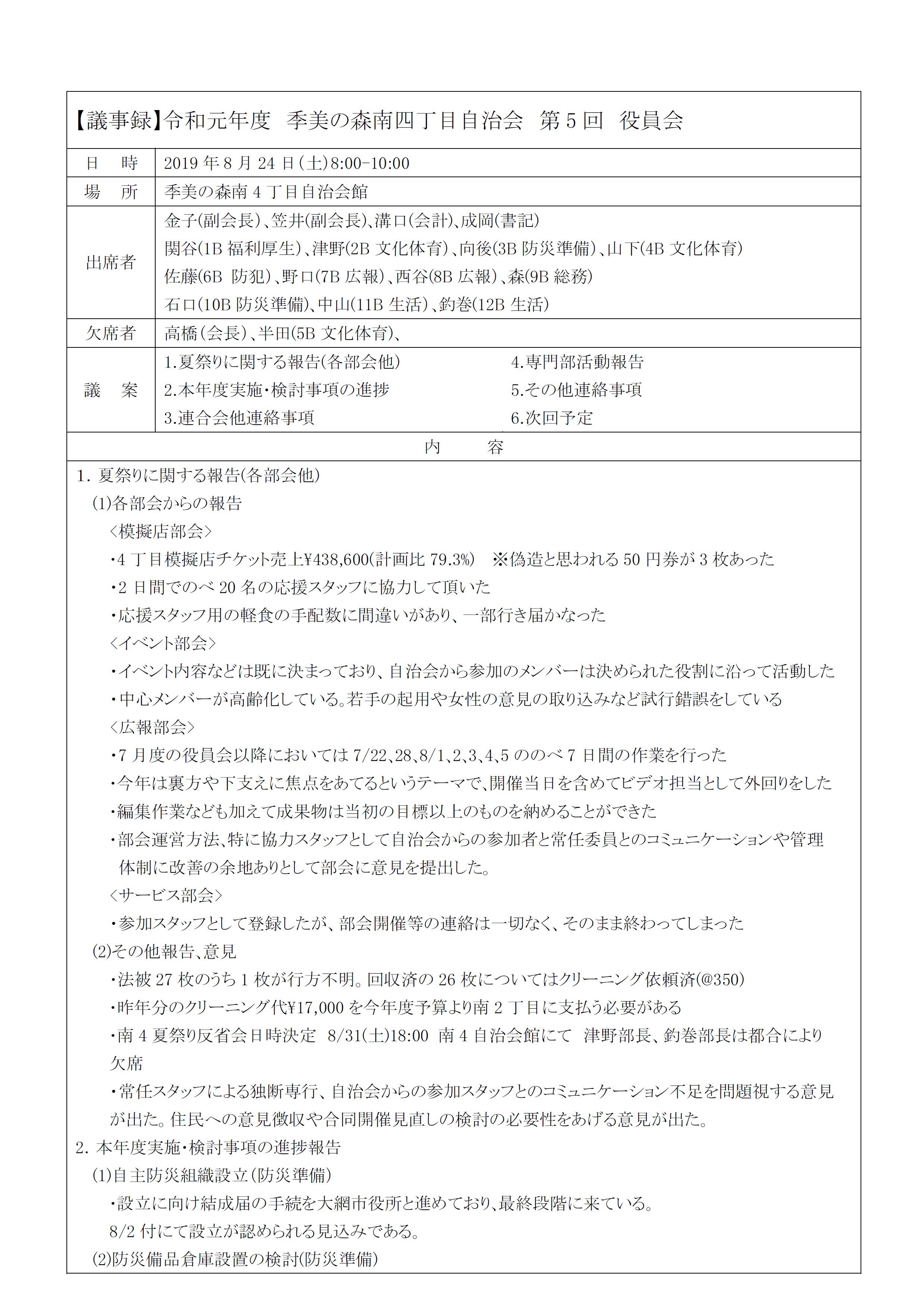 2019第5回役員会議事録P1