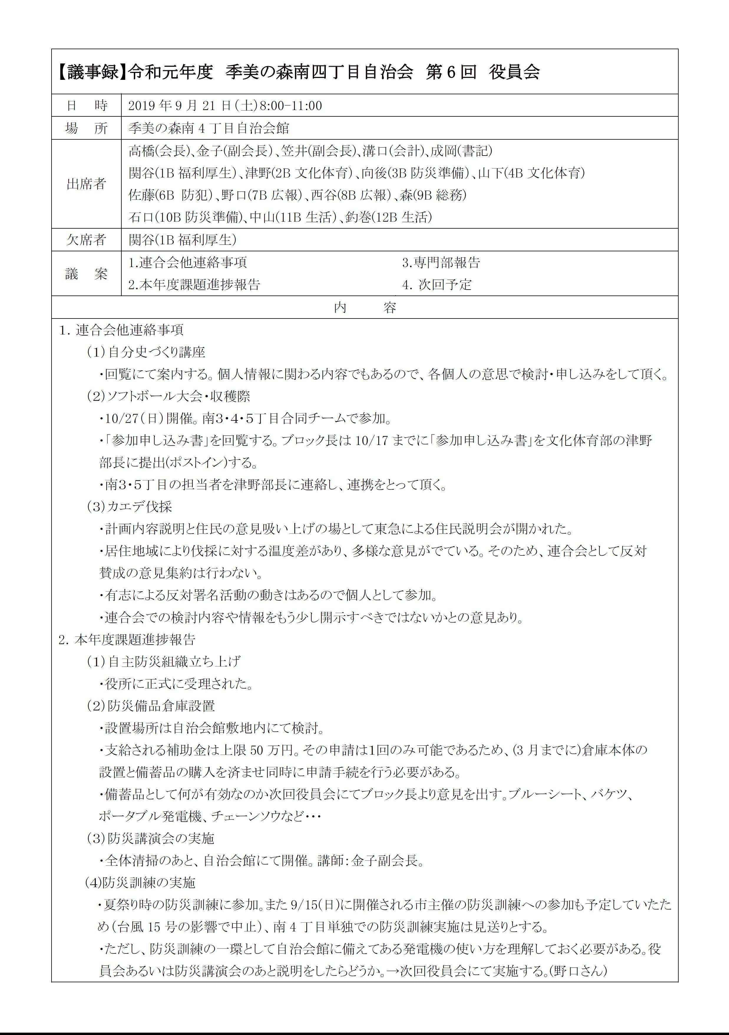 2019第6回役員会議事録P1