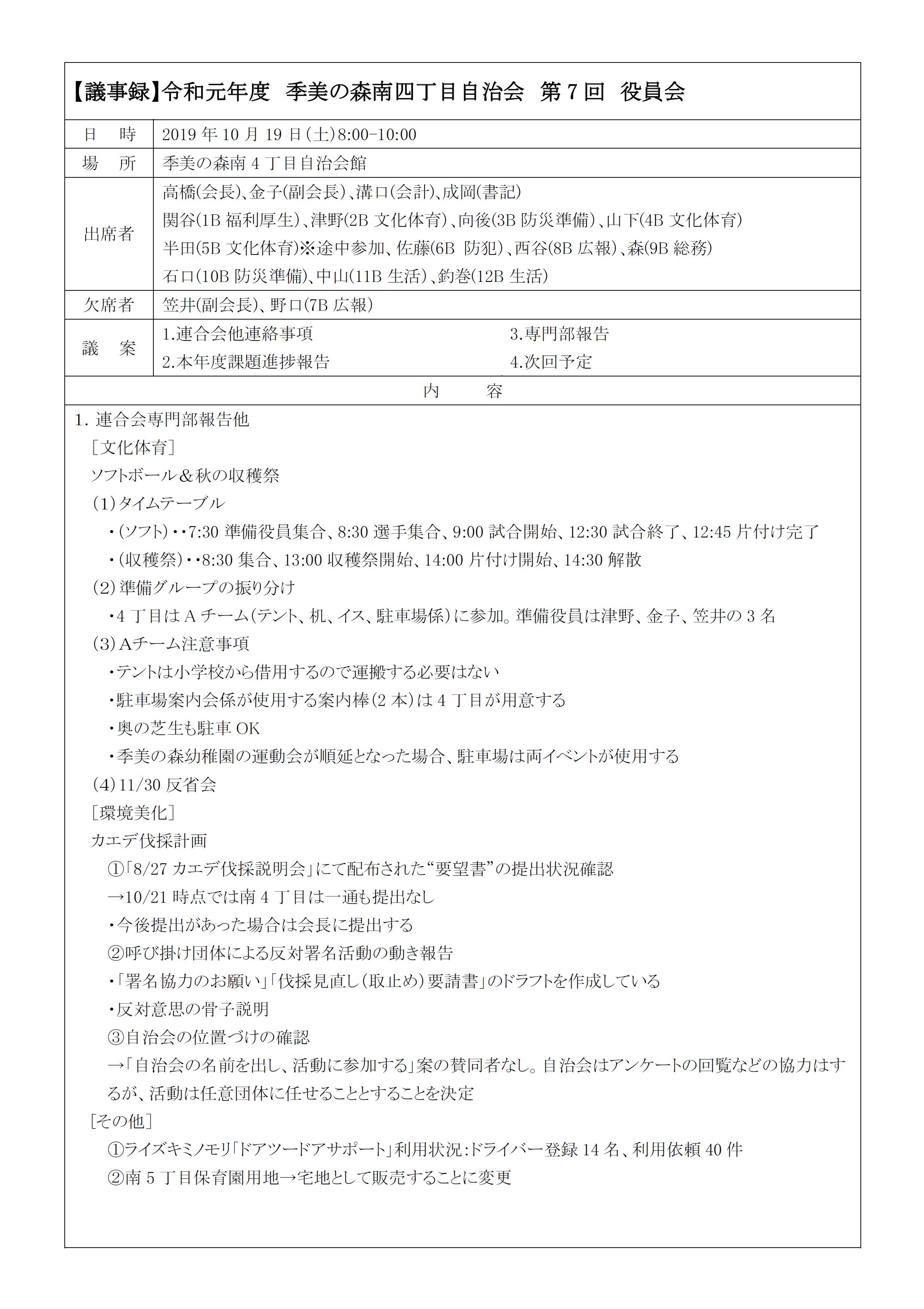 2019第7回役員会議事録P1