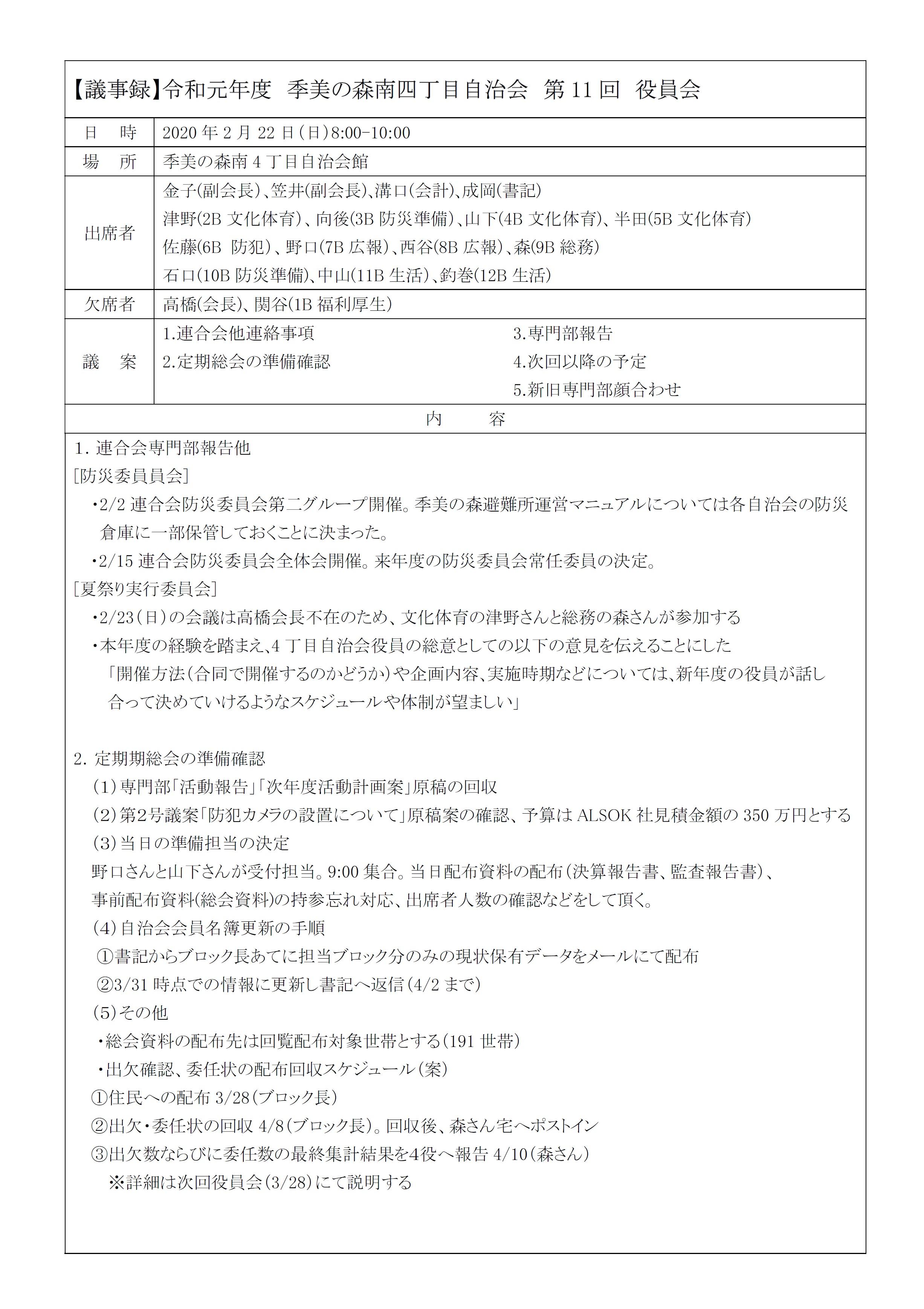 2019第11回役員会議事録P1